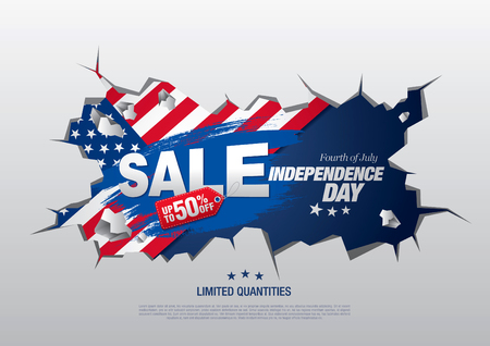 Fourth of July, Independence day sale banner template design
