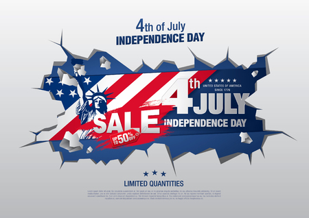 Fourth of July Independence day sale banner template design Ilustrace