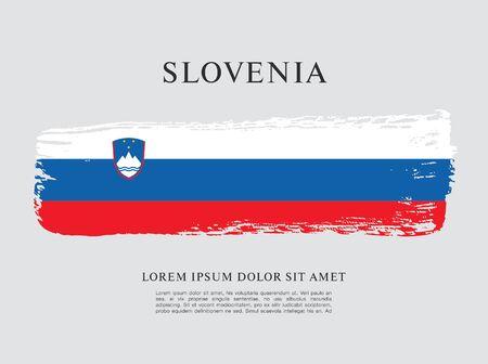 Flag of Slovenia brush stroke background Imagens - 129521221