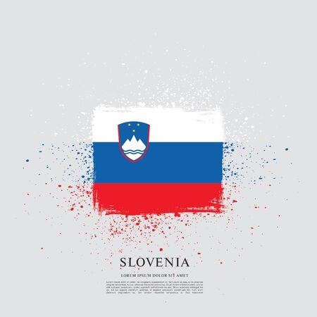 Flag of Slovenia brush stroke background