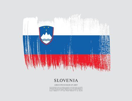 Flag of Slovenia brush stroke background Imagens - 129521223