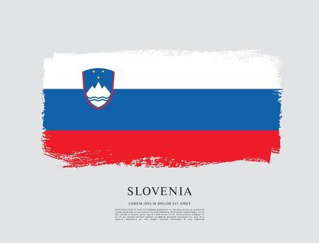 Flag of Slovenia brush stroke background Imagens - 129521225