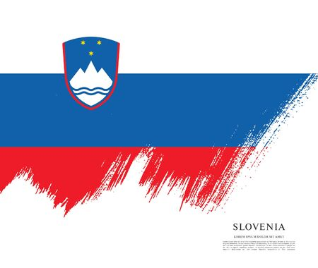Flag of Slovenia brush stroke background Imagens - 129521224