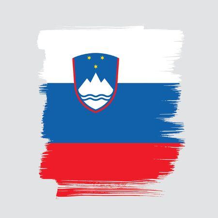 Flag of Slovenia brush stroke background Imagens - 129521231