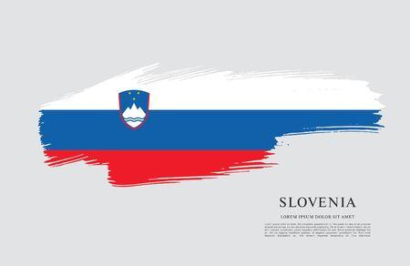 Flag of Slovenia brush stroke background Imagens - 129521234
