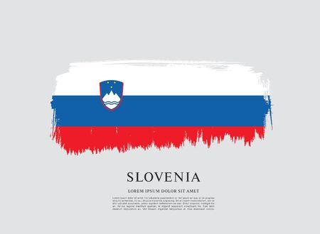 Flag of Slovenia brush stroke background Imagens - 129521328