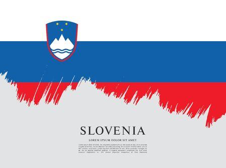 Flag of Slovenia brush stroke background Imagens - 129521333