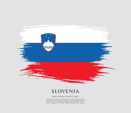 Flag of Slovenia brush stroke background Imagens - 129521340