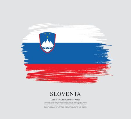 Flag of Slovenia brush stroke background