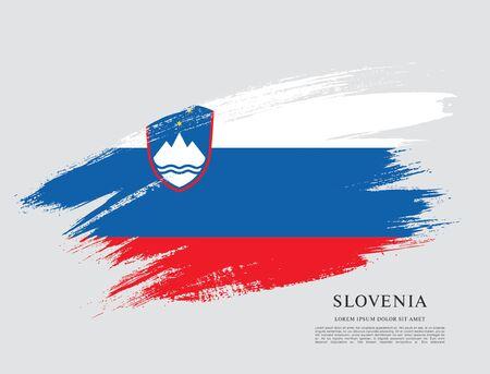 Flag of Slovenia brush stroke background Imagens - 129521342