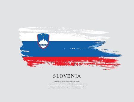 Flag of Slovenia brush stroke background Imagens - 129521347