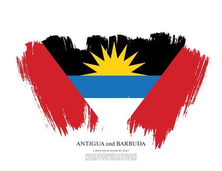 Flag of Antigua and Barbuda brush stroke background