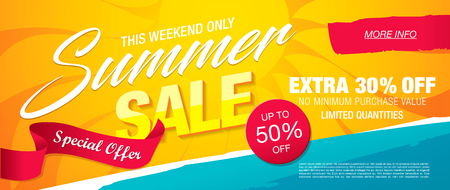 Sommer Verkauf Schablone Banner, Vektor-Illustration Standard-Bild - 83240369