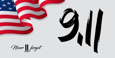 11 september zullen we nooit vergeten. Stock Illustratie