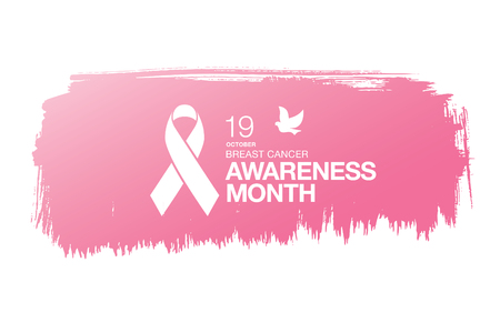 Breast cancer awareness month. Awareness ribbon. Vector illustration