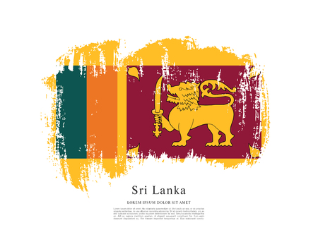 Flag of Sri Lanka on white background.