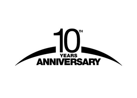 10e verjaardag embleem. Tien jaar jubileum viering symbool