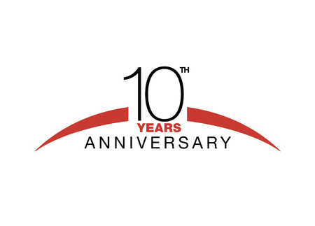10th-anniversary emblem. Ten years anniversary celebration symbol