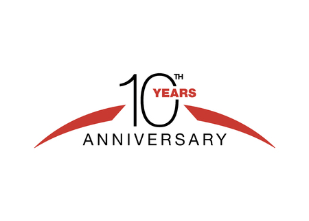 10th anniversary emblem. Ten years anniversary celebration symbol