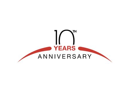 Emblema del décimo aniversario. Diez años de símbolo de la celebración de aniversario Foto de archivo - 87044866
