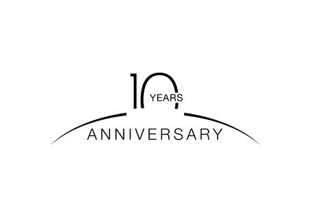 10 周年記念のエンブレム。10 年記念日のお祝いのシンボル  イラスト・ベクター素材