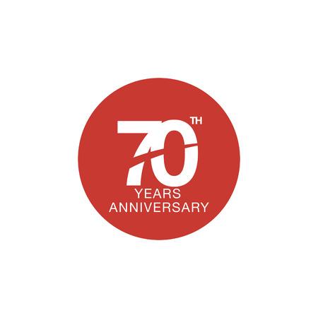 70th anniversary emblem. Seventy years anniversary celebration symbol