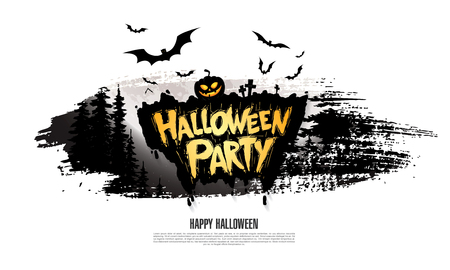 Halloween party Vector illustration on white background.
