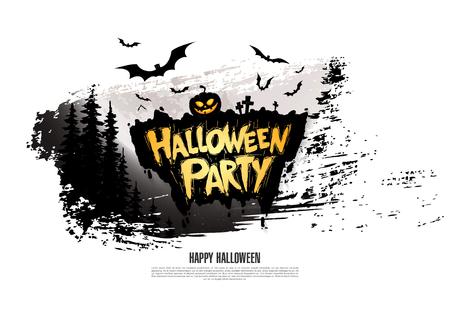 Halloween party on white background. Illustration