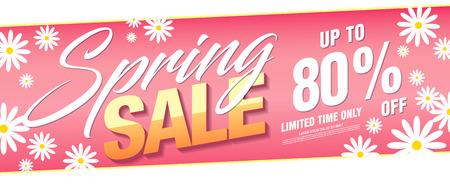 Spring sale banner template design, vector illustration