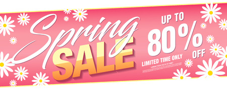 Spring sale banner template design, vector illustration
