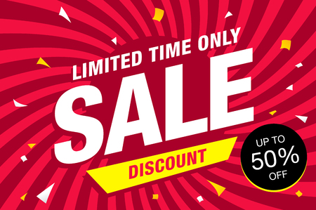 Colorful sale banner layout design.