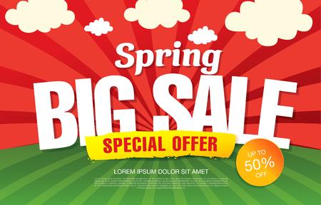 Spring sale banner template design.  イラスト・ベクター素材