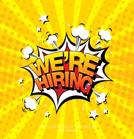 we are hiring banner layout design, vector illustration
