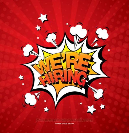 We are hiring banner layout design, vector illustration