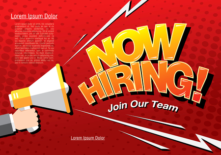 Now hiring banner layout design, vector illustration