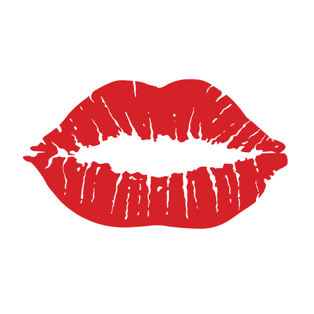 Lips icon. Kiss icon. Red lips, vector illustration