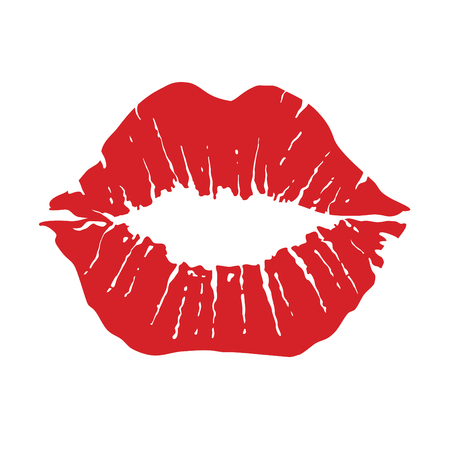 Lippen-Symbol. Kuss-Symbol. Rote Lippen, vektorabbildung