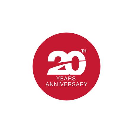 20th anniversary emblem. Twenty years anniversary celebration symbol
