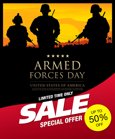 Armed forces day sale banner layout Illustration