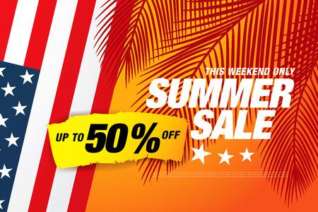 Summer sale banner layout. Illustration