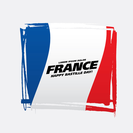 French flag. Happy Bastille Day. Vector illustration