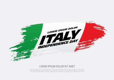 Flag of Italy, brush stroke background 일러스트