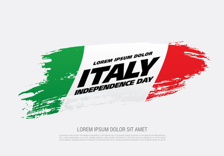Flag of Italy, brush stroke background Stock Illustratie