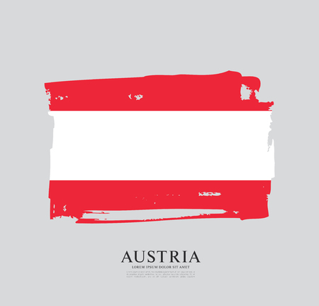 Flag of Austria, brush stroke background, vector illustration