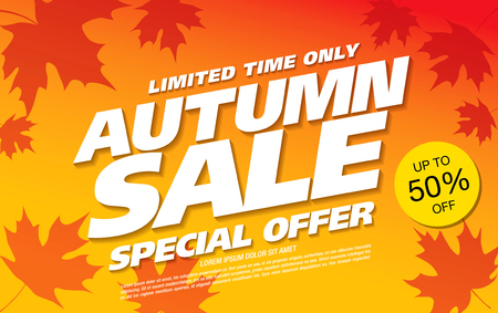 autumn sale banner layout design Illustration