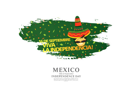 Mexican vector banner layout design. Mexican translation of the inscription: 16 th of September. Happy Independence day!
