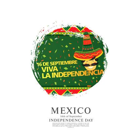 Messicano vettore banner layout design. Traduzione messicana dell'iscrizione: 16 settembre. Felice giorno dell'indipendenza!