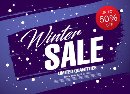 Winter sale banner template design vector illustration Illustration