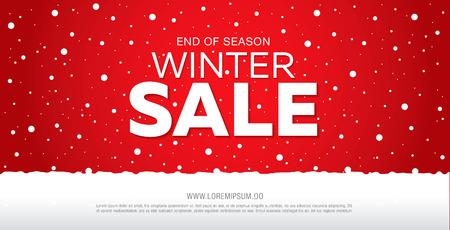 disegno del modello di banner di vendita invernale, illustrazione vettoriale Vettoriali