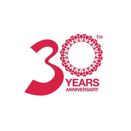 30th anniversary emblem. Thirty years anniversary celebration symbol 向量圖像